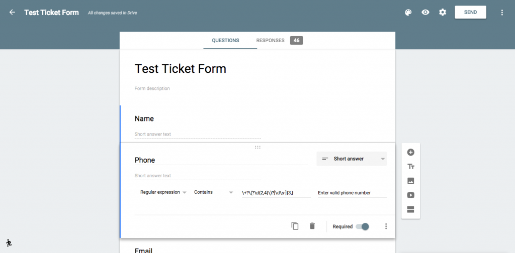 Google Forms phone number validation