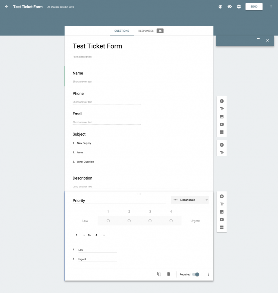 Adding fileds to Google Forms