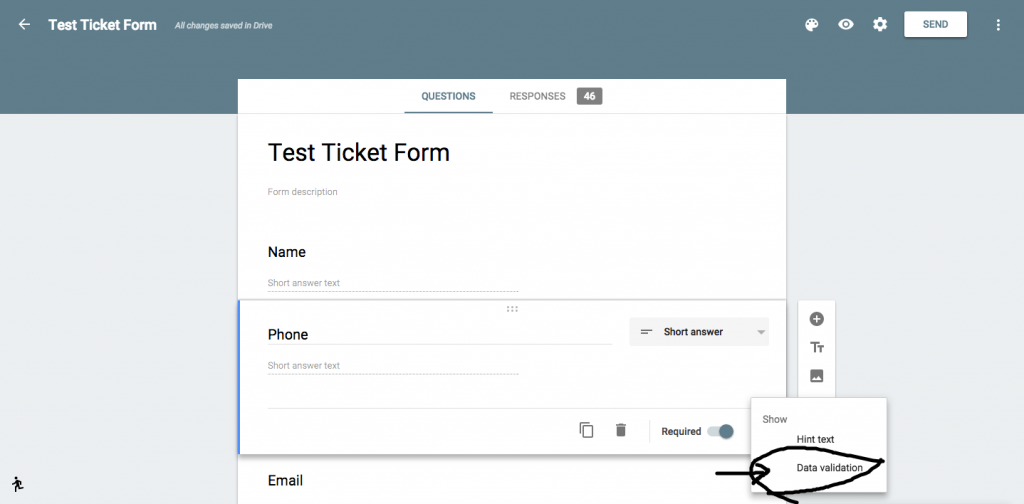 Google Forms Data Validation