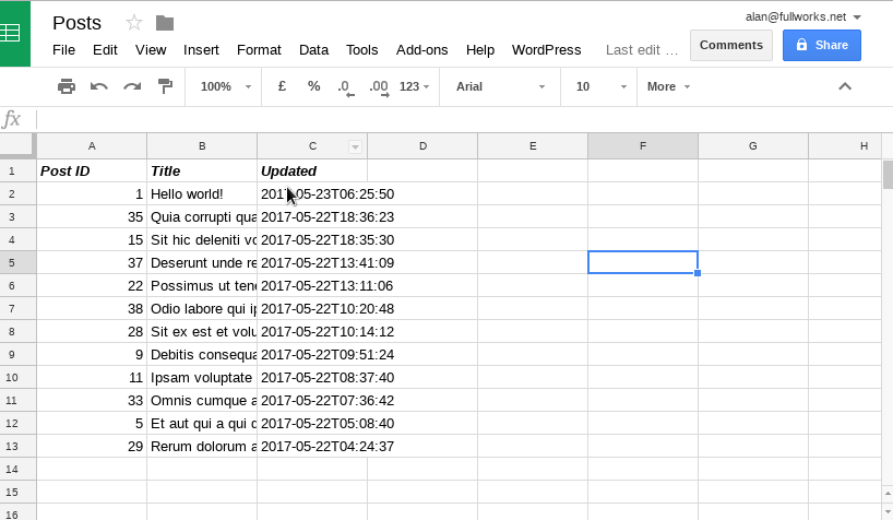 Linking WordPress to a Spreadsheet using WP REST API and